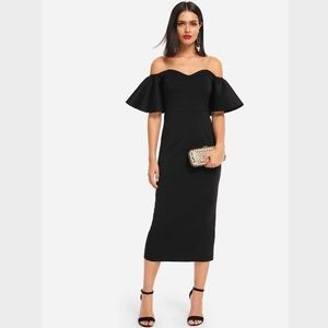 Off Shoulder Ruffle Detail Pencil Black Midi Dress